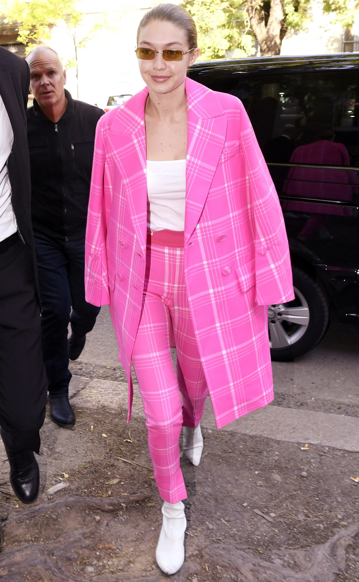 Gigi Hadid Hot Pink Outfit - Embed