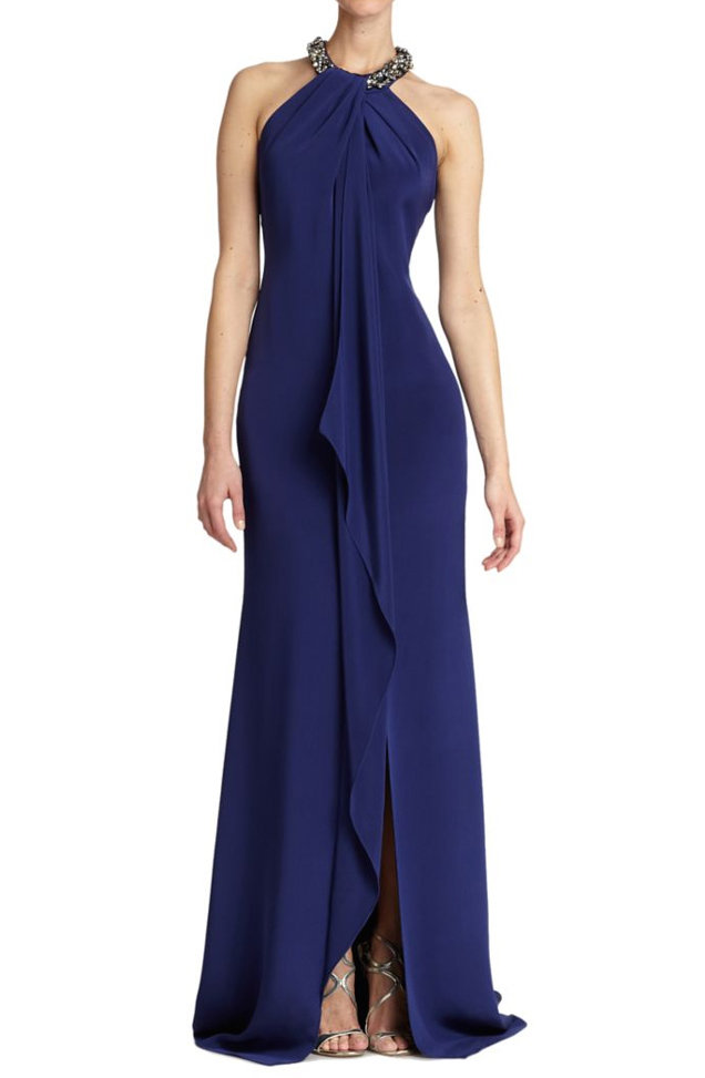 Carmen Marc Valvo's Sleeveless Silk Halter Gown