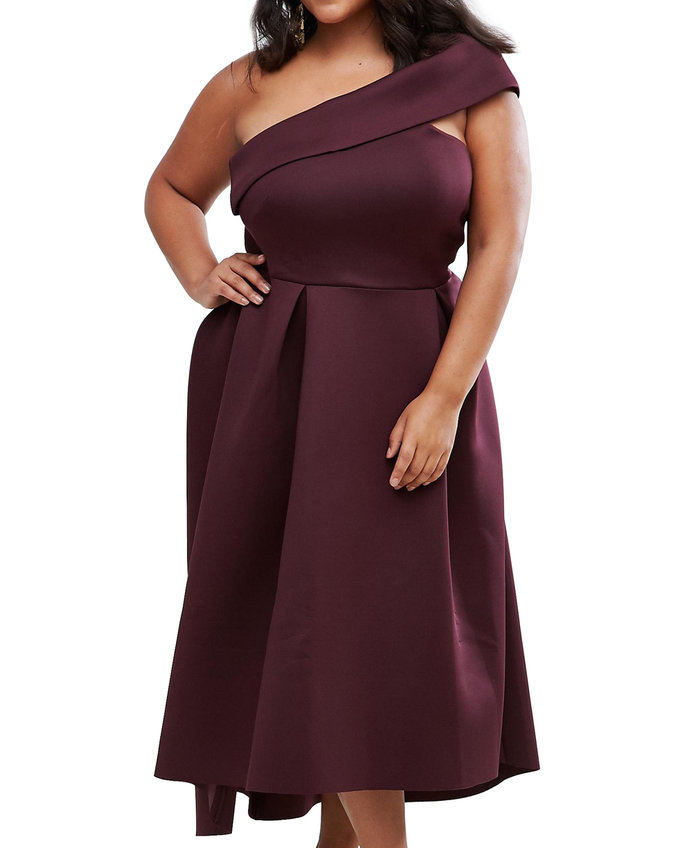 ASOS Curve's One Shoulder Midi Skater Dress