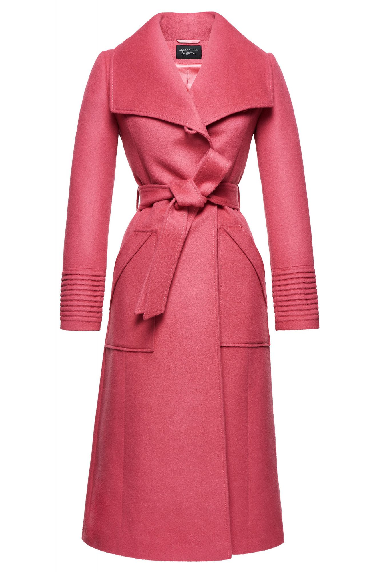 long wide-collar wrap coat