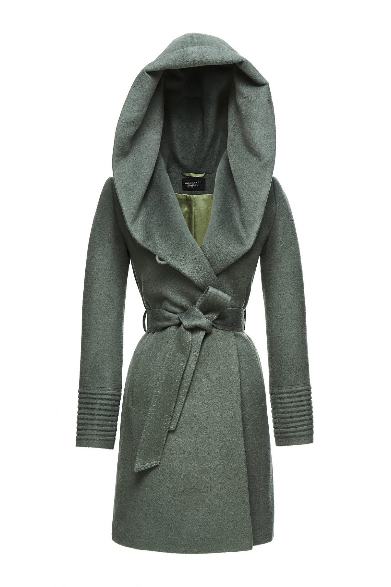 mid-length hooded wrap coat
