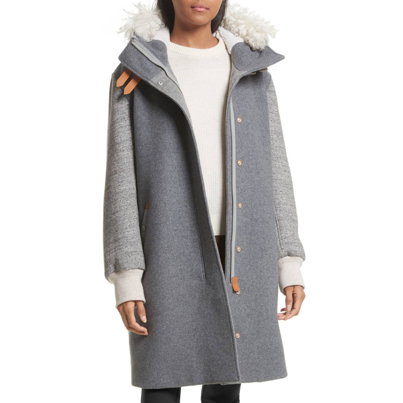 Genuine Shearling Trim Wool Blend Hooded Coat