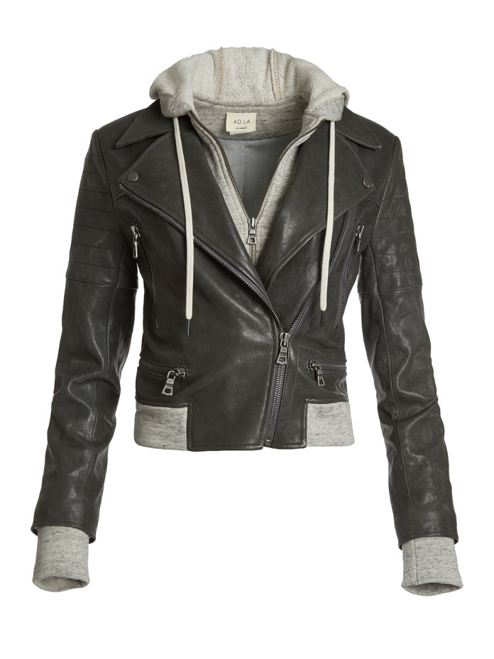 AO.LA Avril Hooded Combo Sweatshirt Leather Jacket