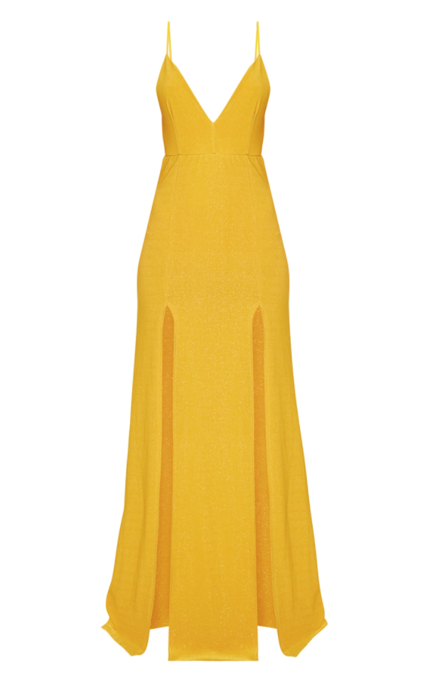 Yellow Strappy Plunge Dress