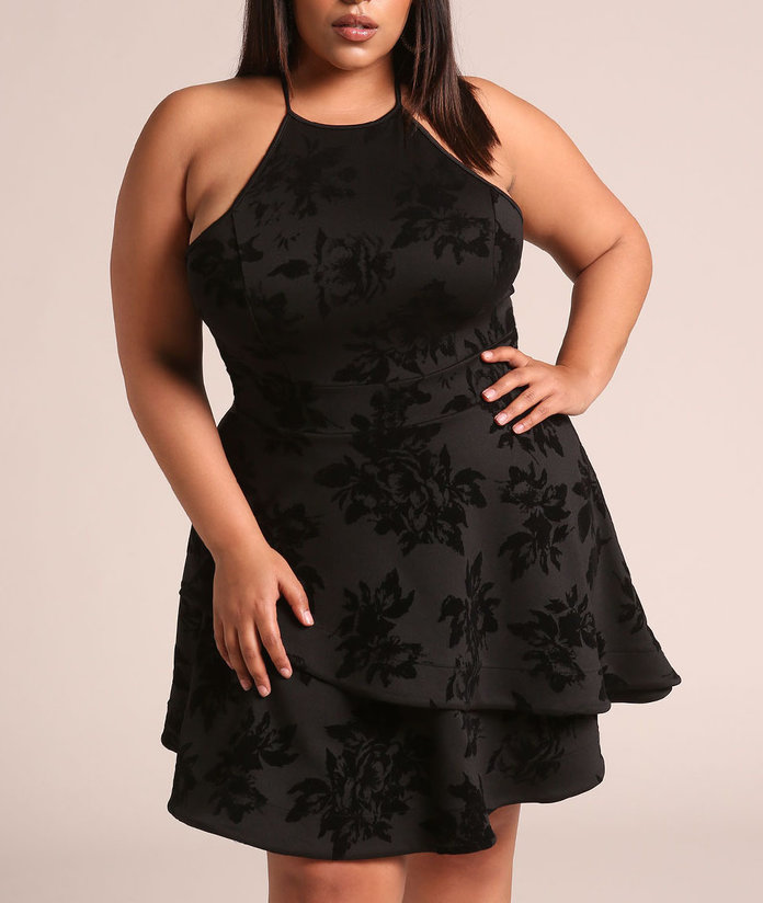 black floral dress with ruffle layers