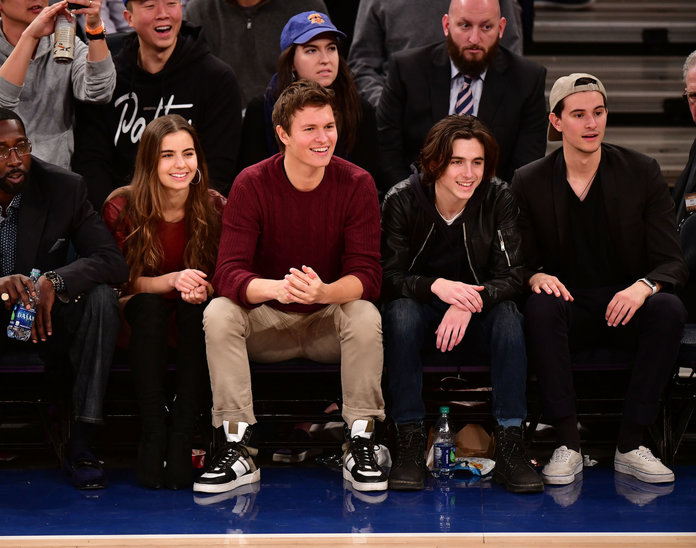 Ansel Elgort and Timothée Chalamet at basketball game