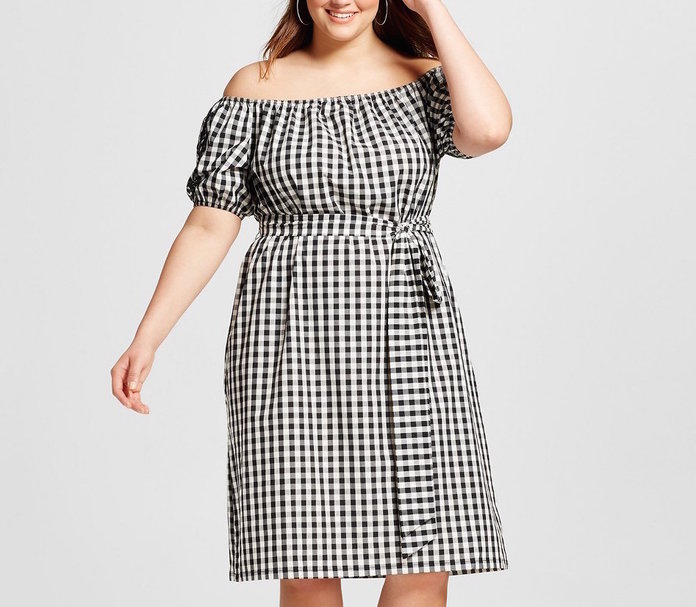 Who What Wear's Gingham Off-the-Shoulder Dress
