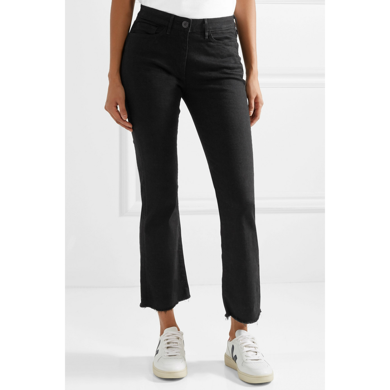 3x1 Crop Distressed Mid-Rise Flare Jeans