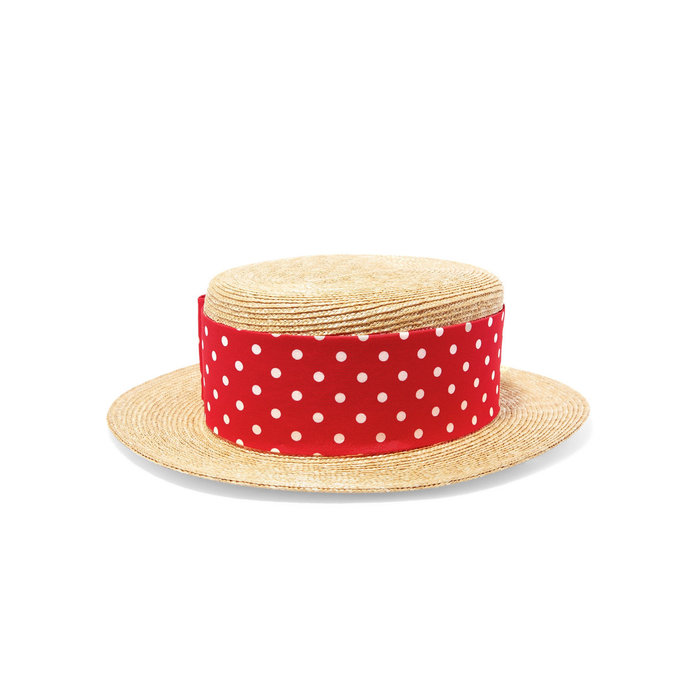 Miu Miu Red Polka Dot Ribbon Hat
