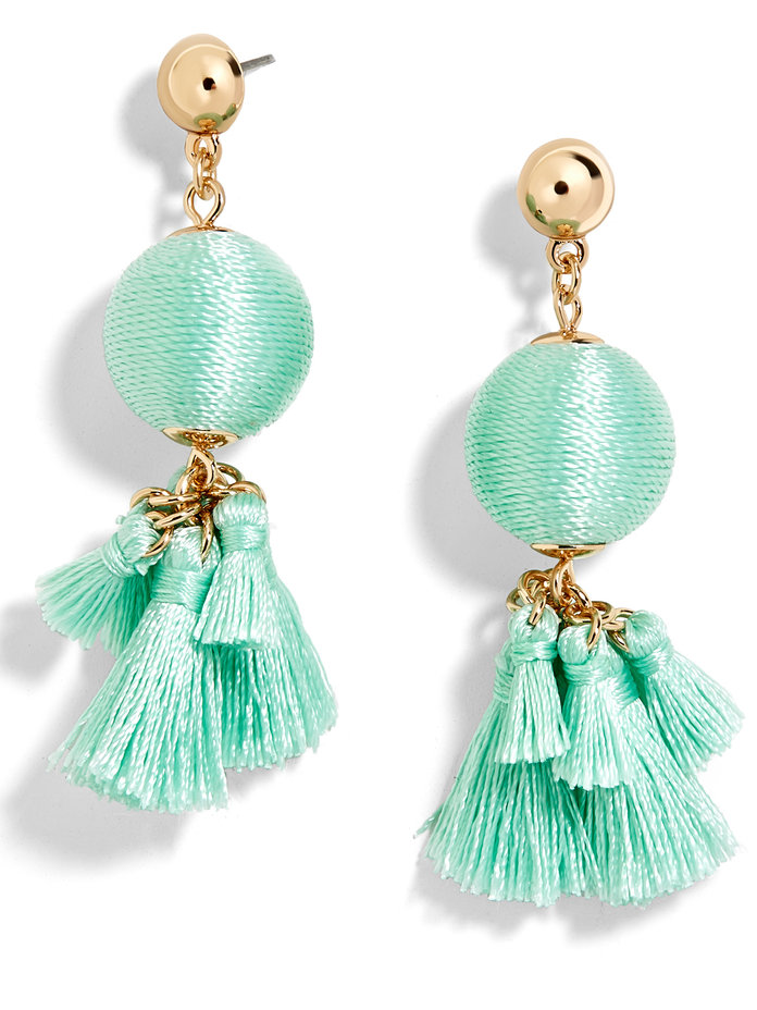 Ball Drop with Tassels Earrings in Turquoise