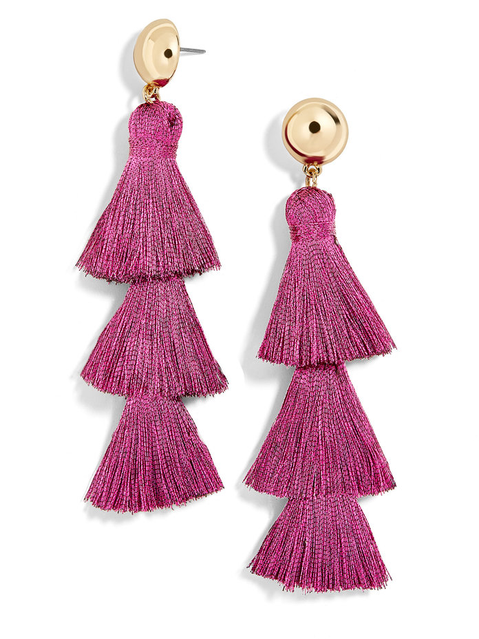 Tassel Drop Earrings in Pink