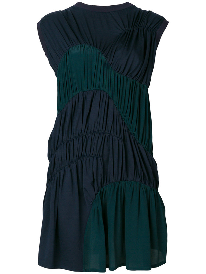 green and navy smock dress