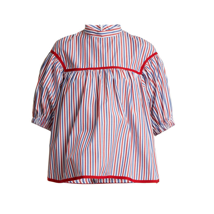 Stella Jean Striped Puffy Sleeve Blouse
