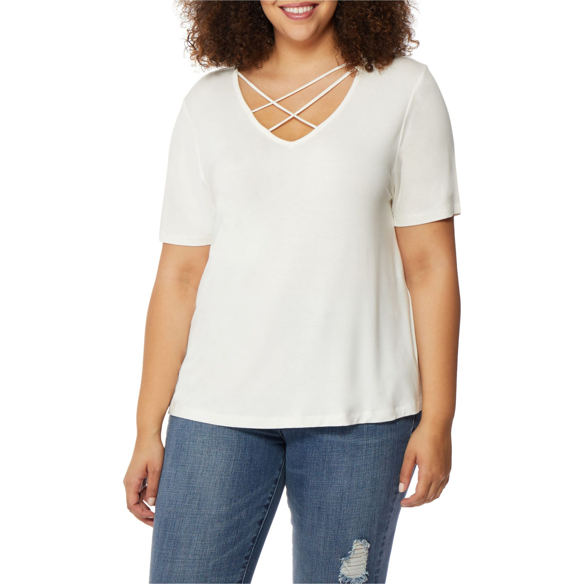 Cross Strap V-Neck Tee
