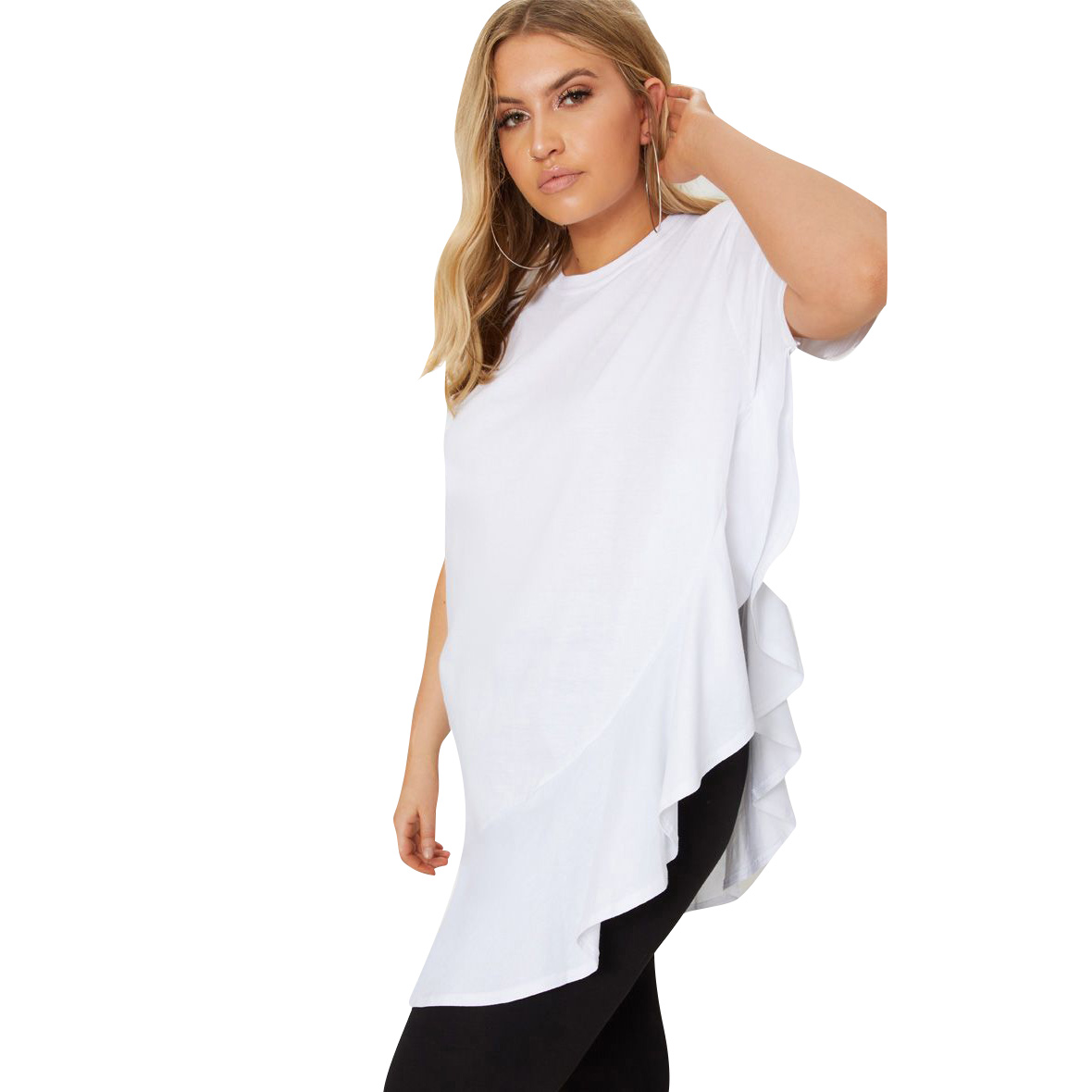 Frill Detail Oversized T-Shirt