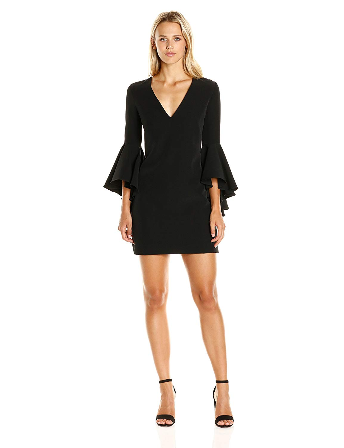 Italian Cady V-Neck Bell Sleeve Nicole Mini Dress
