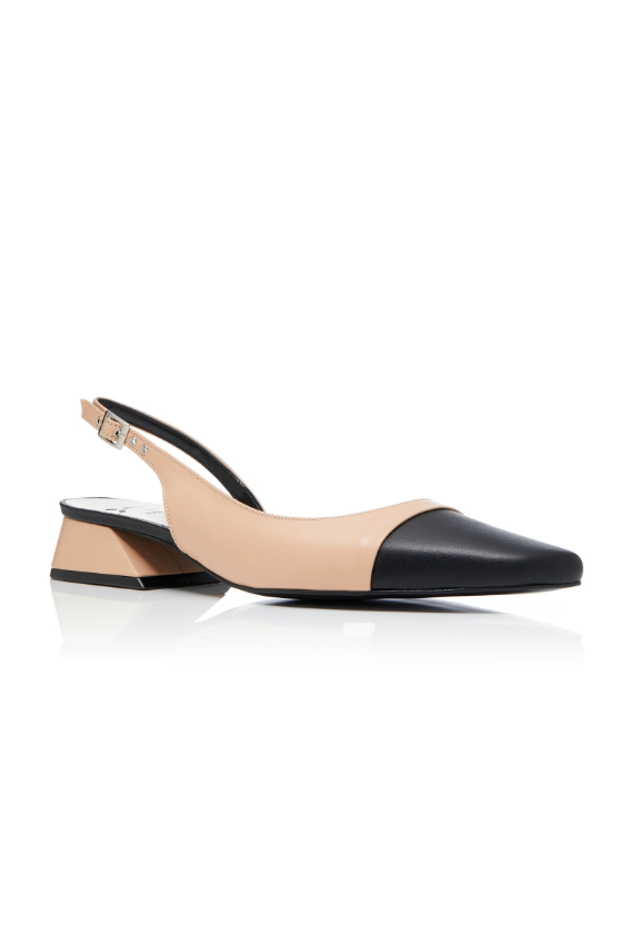 Two-Tone Leather Slingback Pumps