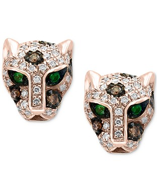 Signature by EFFYDiamond (1/3 ct. t.w.) & Tsavorite Accent Panther Stud Earrings in 14k Rose Gold