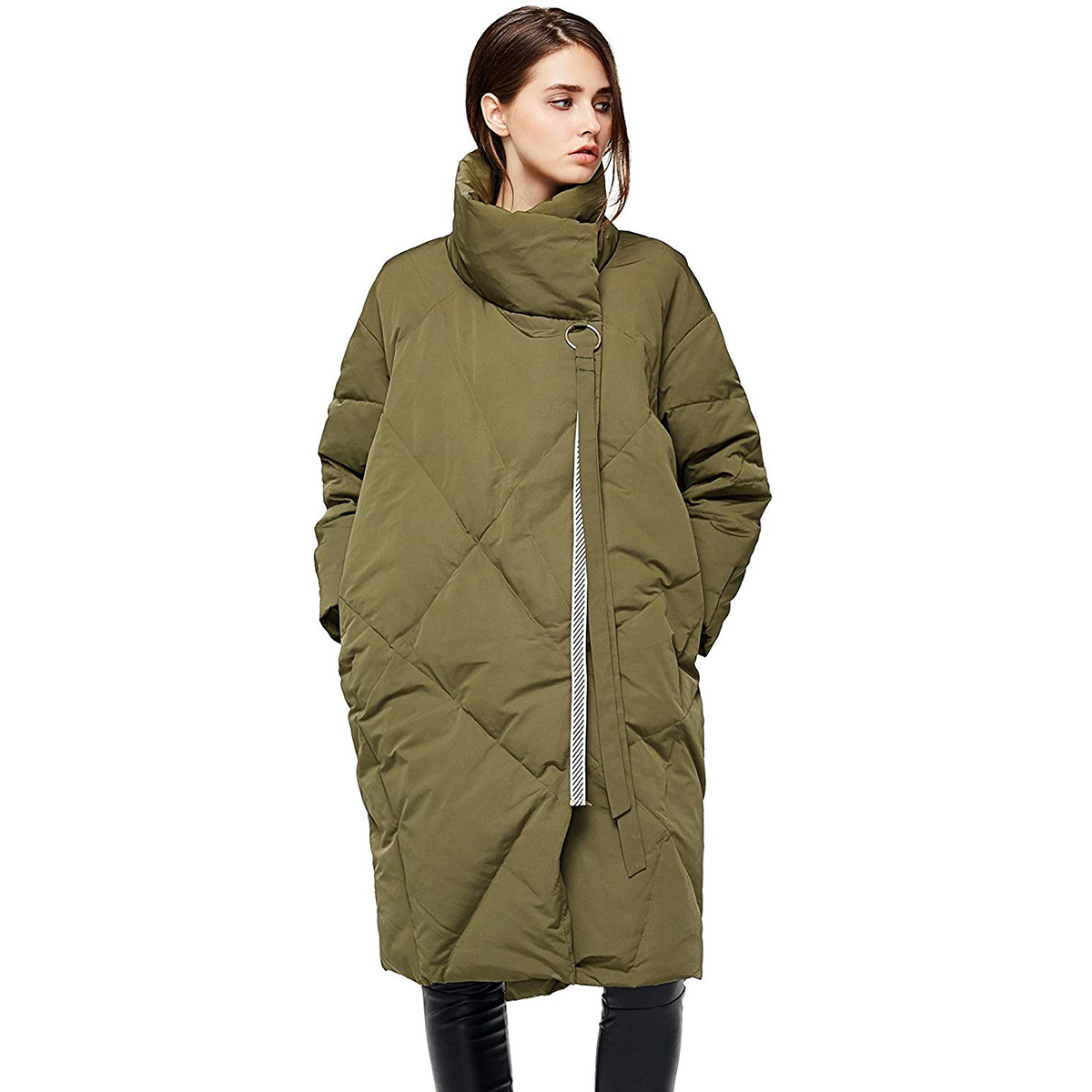 Anna&Chris Mid-Length Puffer Down Jacket with Stand Collar