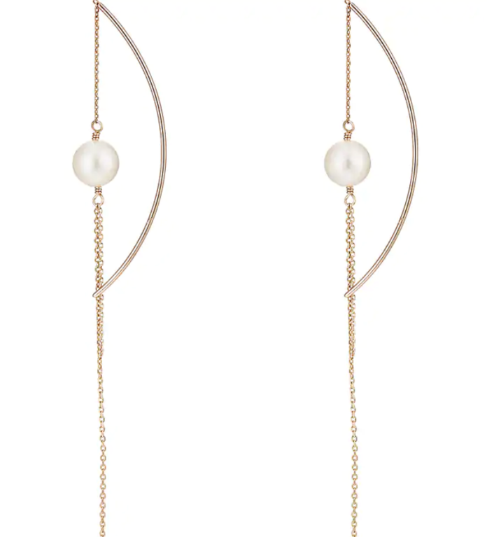 Hirotaka Akoya-Pearl Chain Earrings