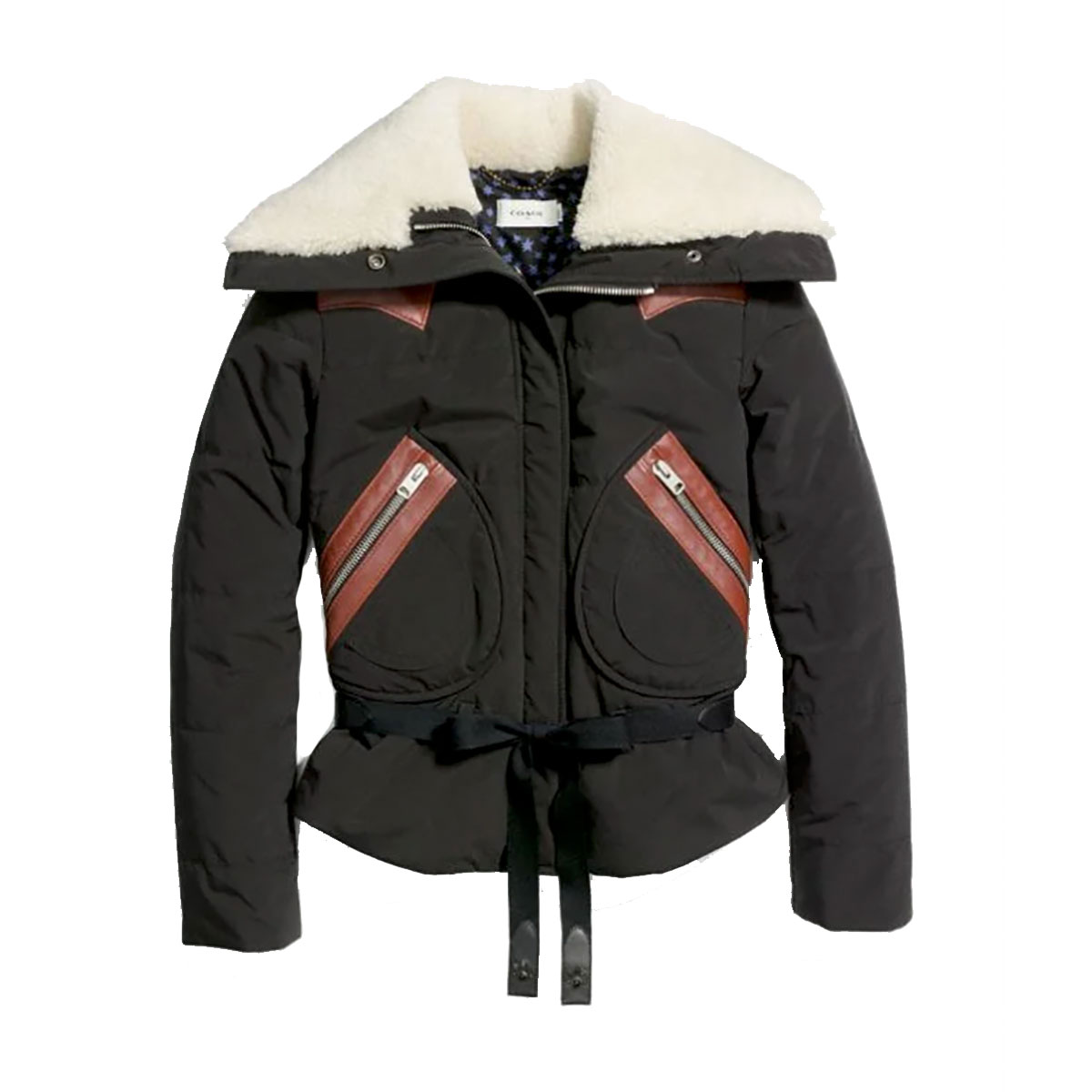 Coach Puffer Jacket With Shearling