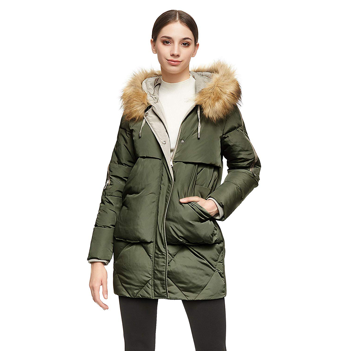 Orolay Women's Thickened Mid-Length Down Jacket