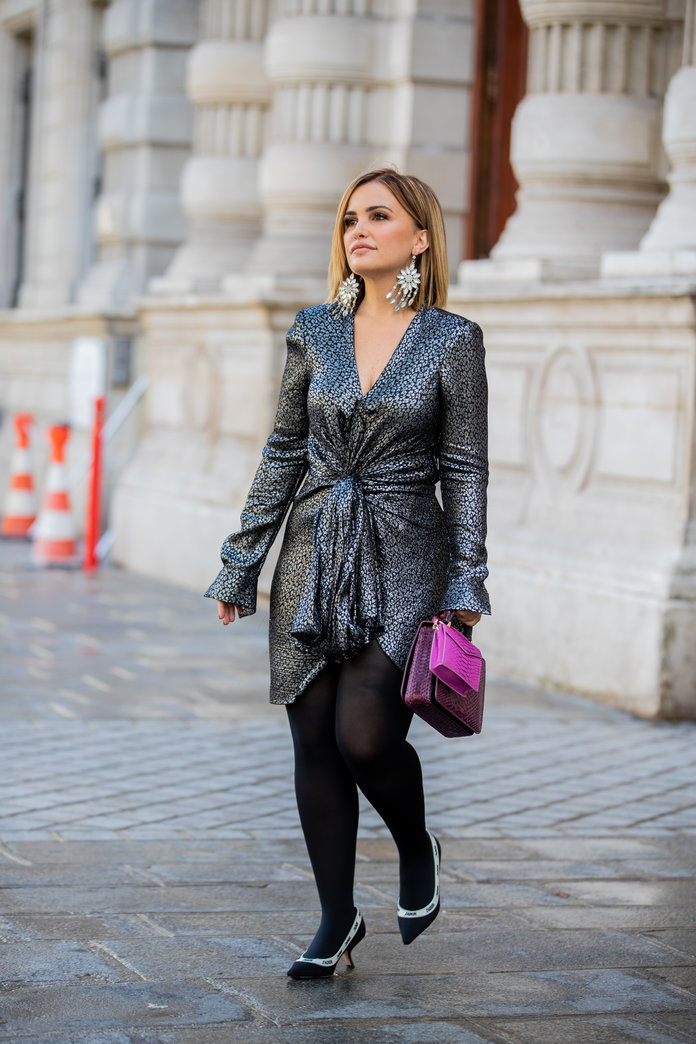 Metallic dress and tights outfit