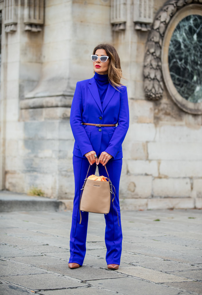 Blue suit with a turtleneck outfit