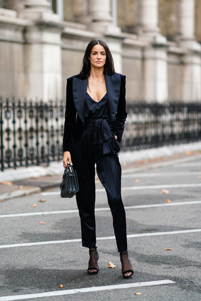 Black jumpsuit and blazer outfit