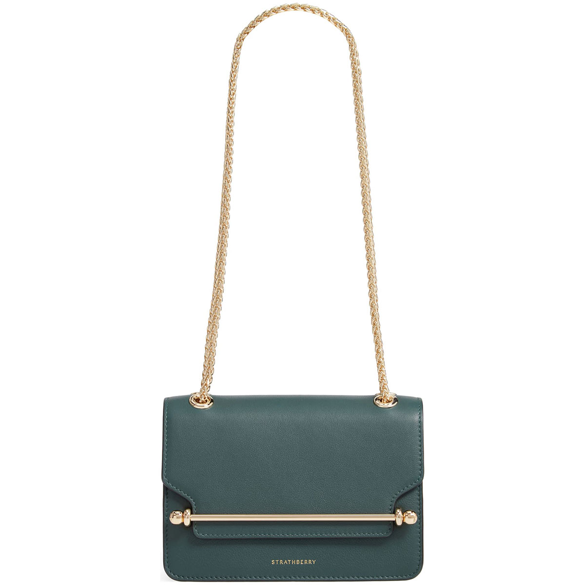 Strathberry Mini East/West Leather Bottle Green Crossbody Bag