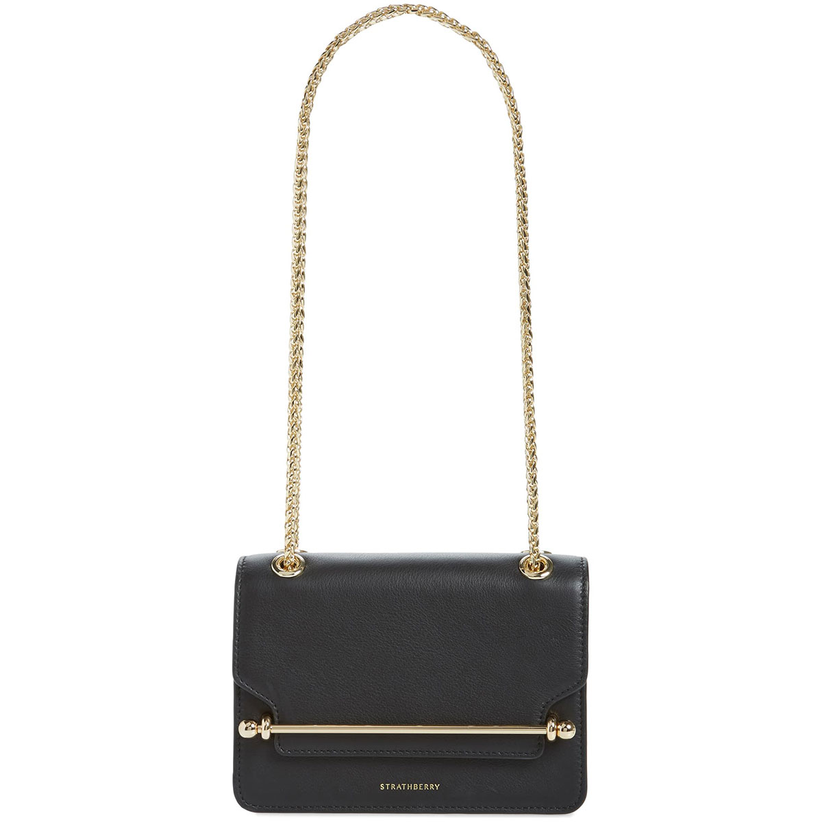 Strathberry Mini East/West Black Leather Crossbody Bag