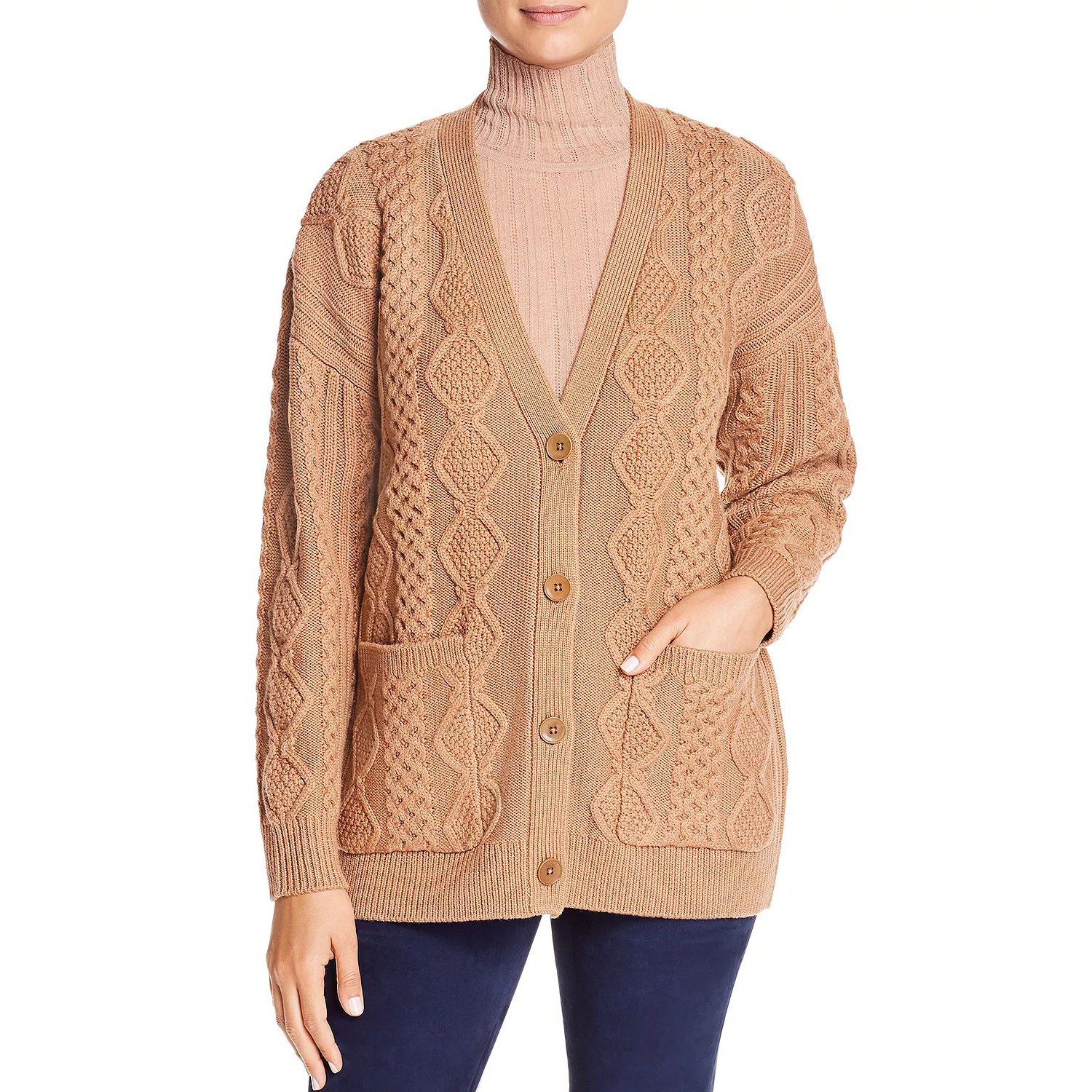 Elie Tahari Fei Wool Cable-Knit Cardigan