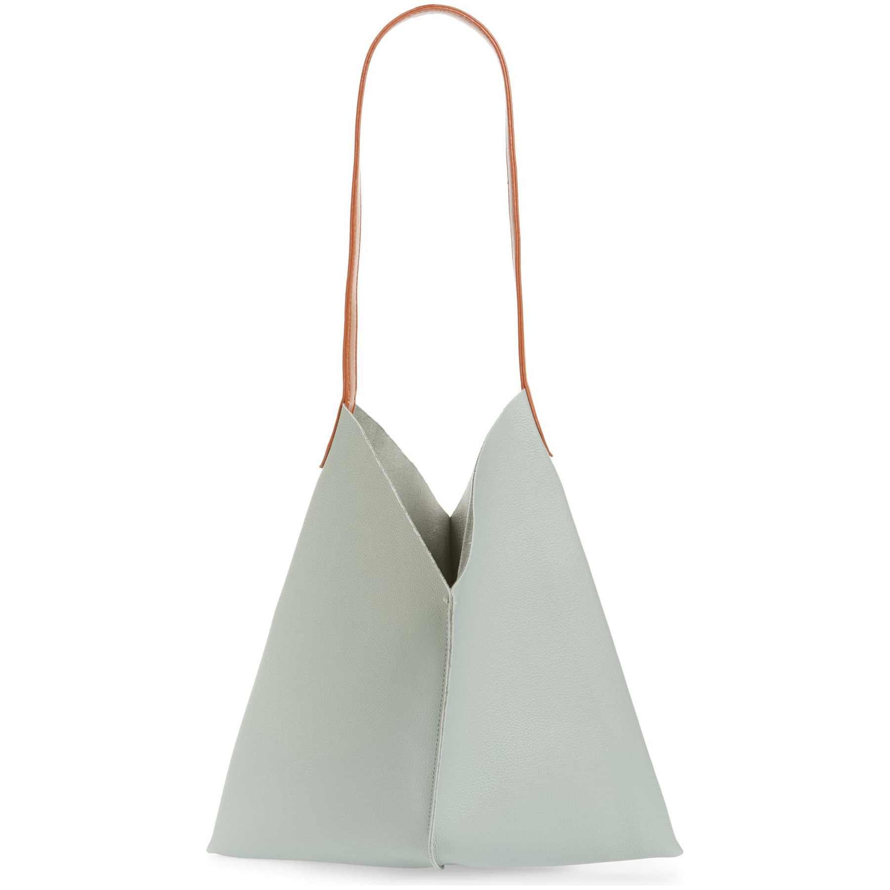BP. Center Seam Faux Leather Tote in Blue Drift