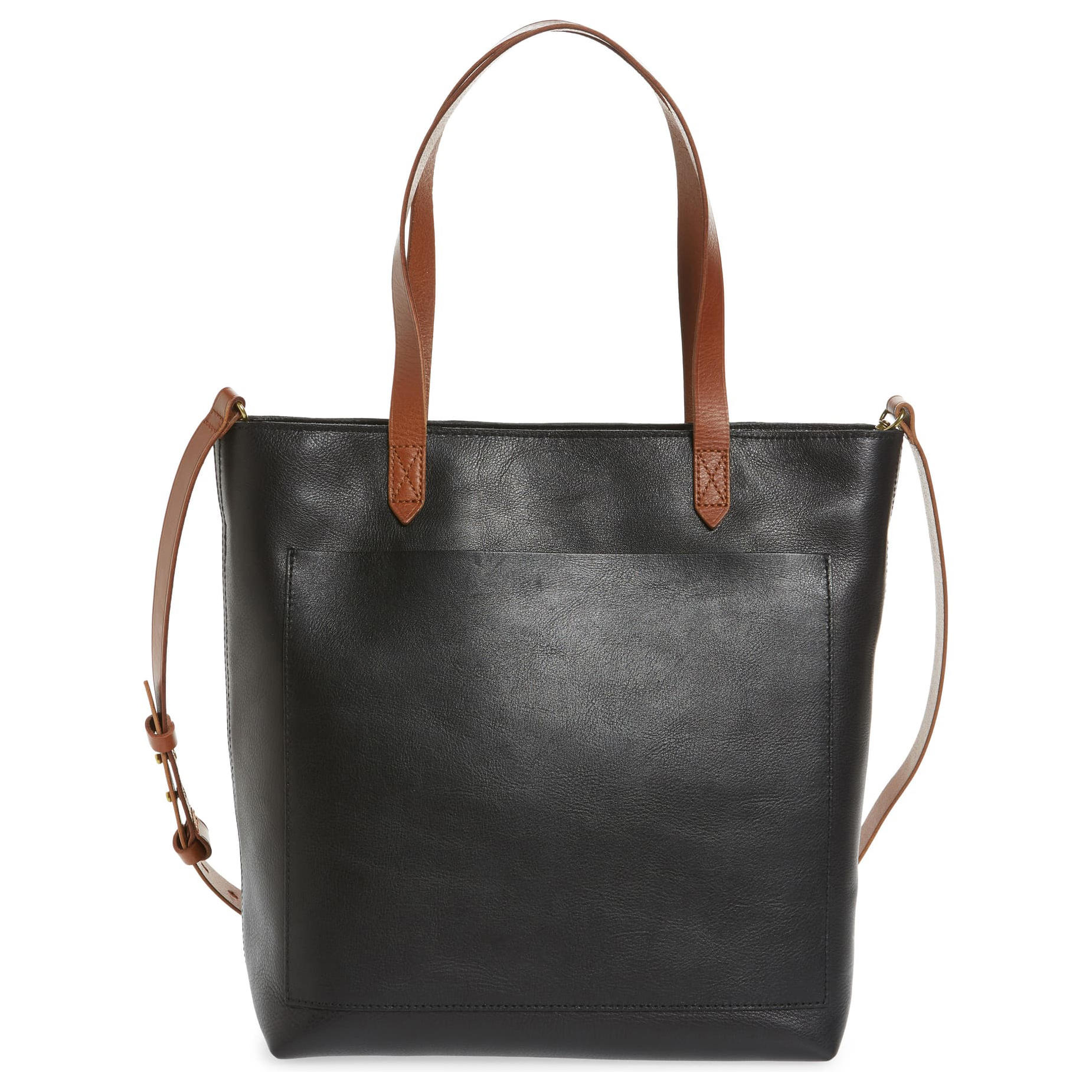 Madewell The Zip-Top Medium Transport Leather Tote Black