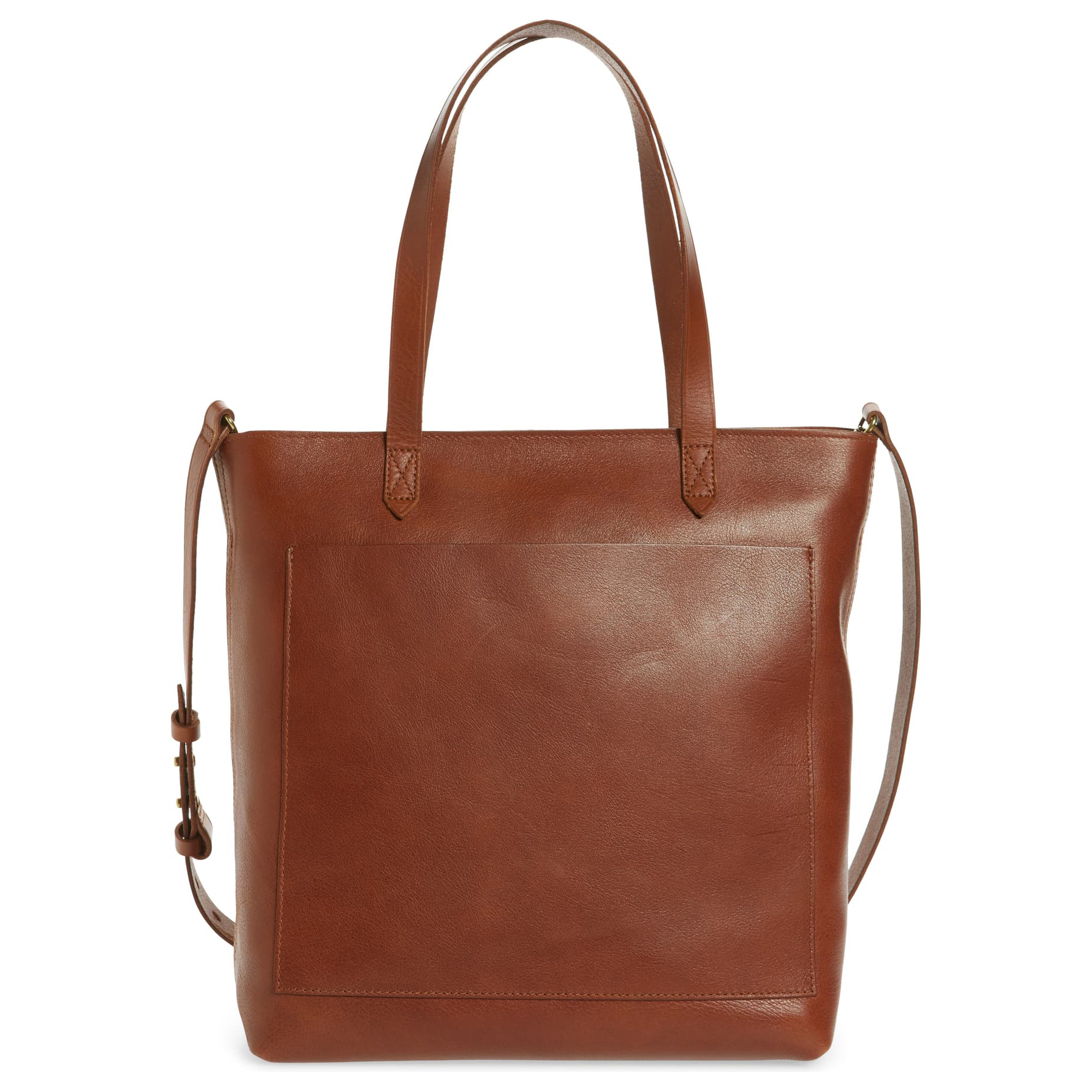 Madewell The Zip-Top Medium Transport Leather Tote Tan