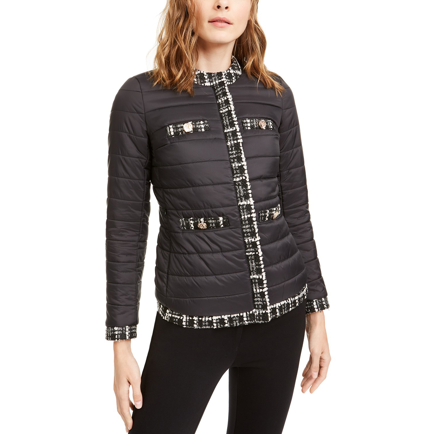 Anne Klein Tweed Trim Puffy Jacket