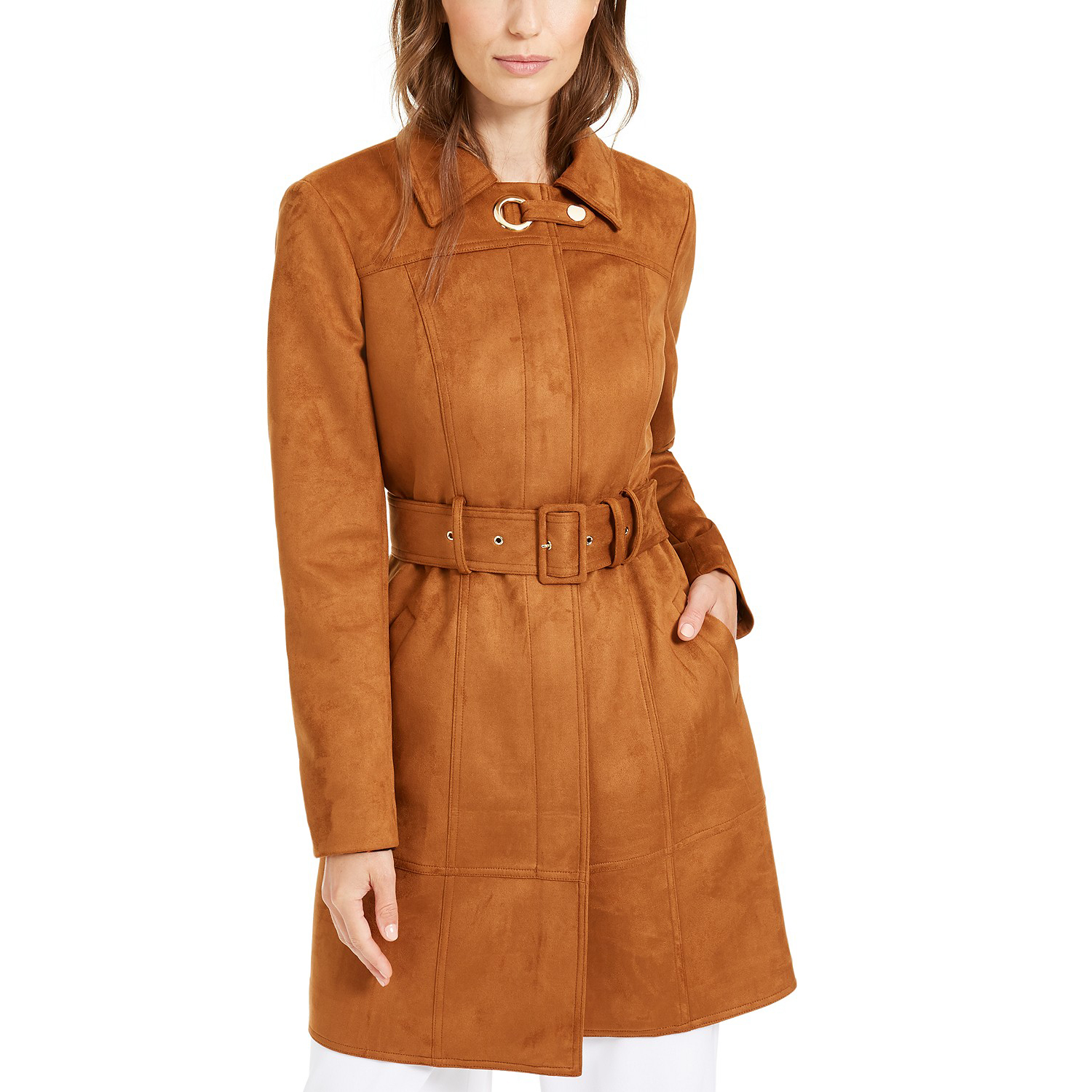 I.N.C. Faux-Suede Trench Coat
