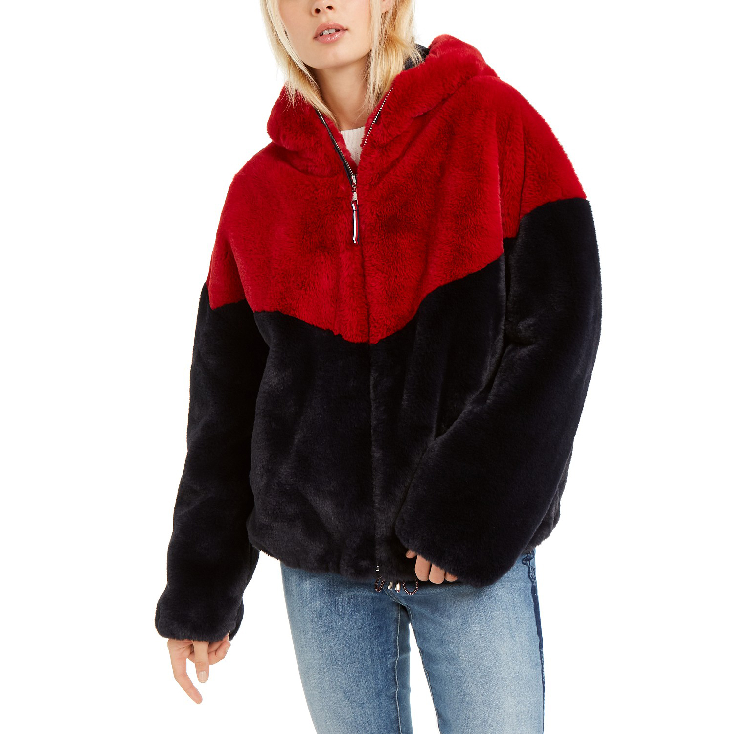 Tommy Hilfiger Hooded Faux-Fur Teddy Jacket
