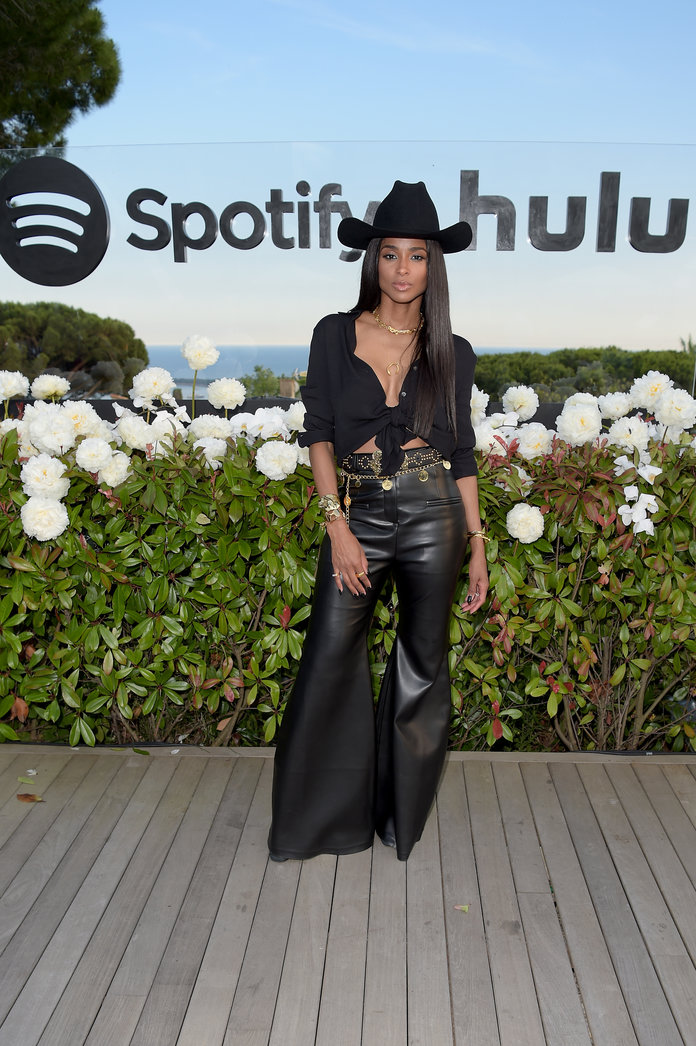 Ciara wearing a western outfit at a Spotify and Hulu event