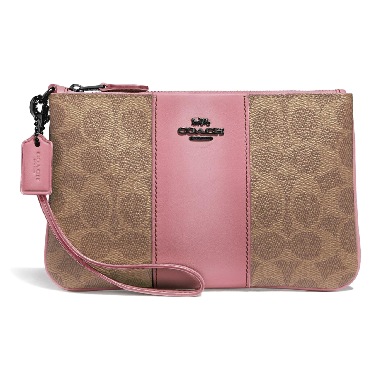 Coach Small Wristlet In Colorblock Signature Canvas