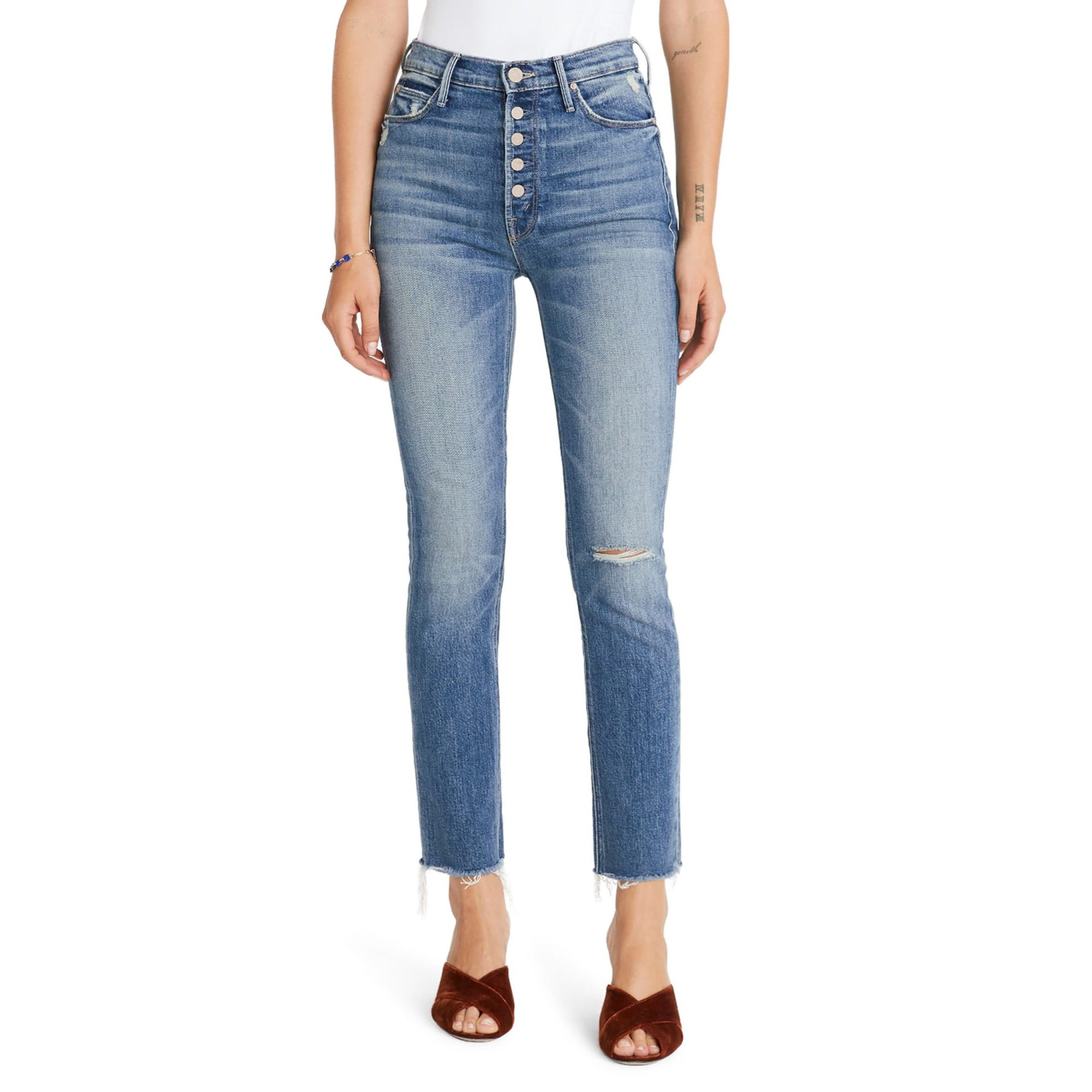 MOTHER The Pixie Dazzler Raw Hem Straight Leg Jeans