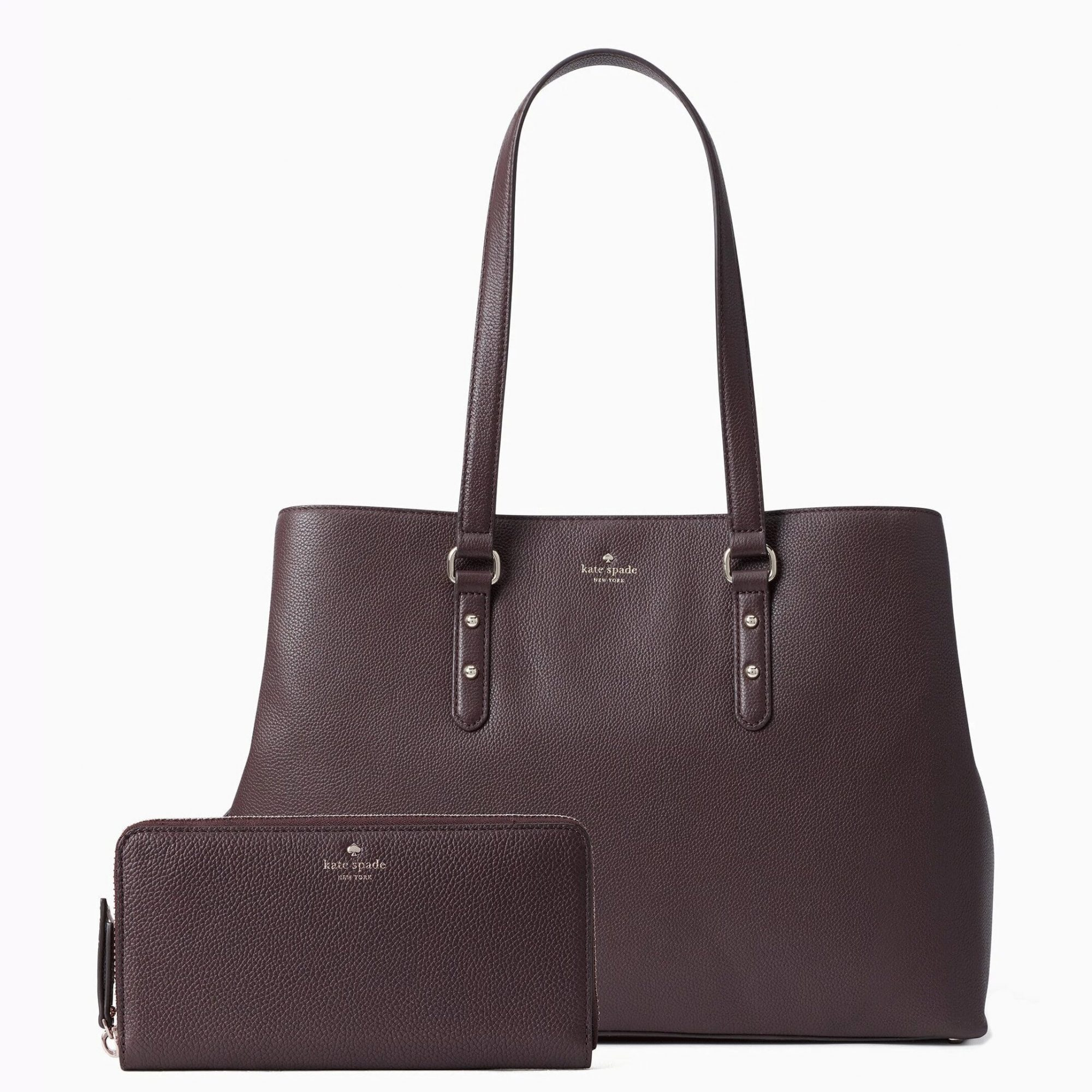 Kate Spade Larchmont Avenue Evangelie and Neda Bundle in Chocolate Cherry