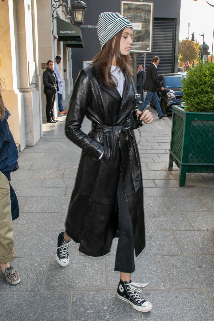 Kaia Gerber wearing a leather coat