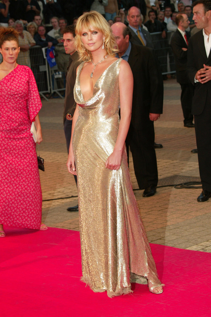 Charlize Theron wears Ralph Lauren at the Deauville Film Festival in 2003