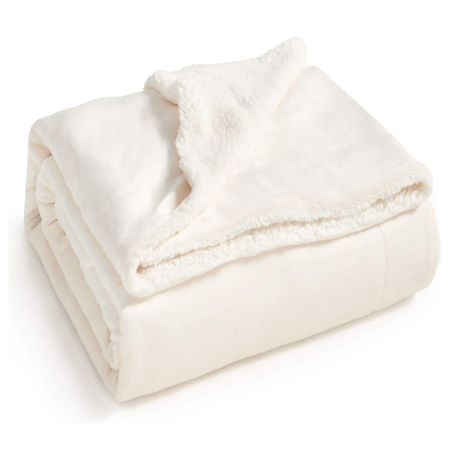 Amazon Bedsure Sherpa Fleece Blanket Queen Size Off White Cream