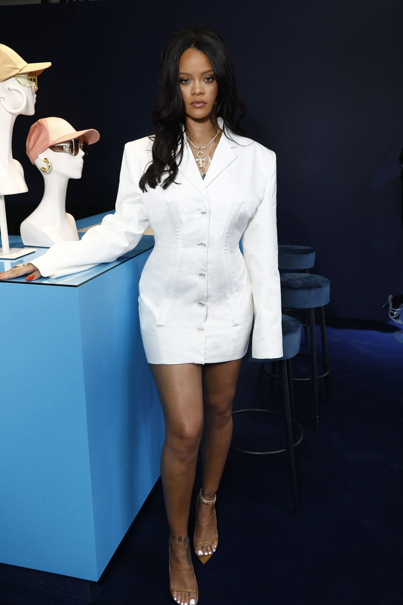 Rihanna in a white Fenty Blazer Dress