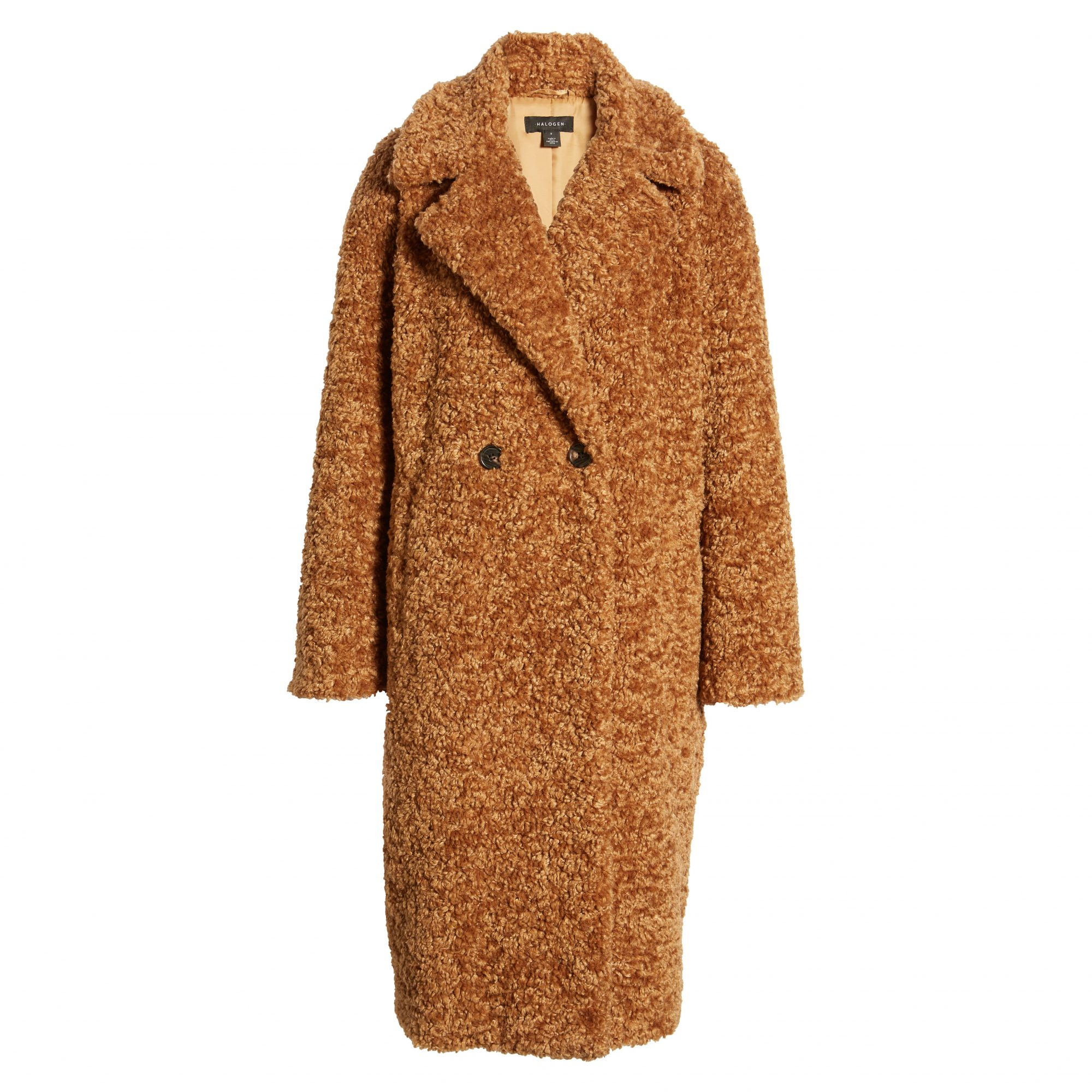 Halogen Double Breasted Faux Fur Teddy Coat