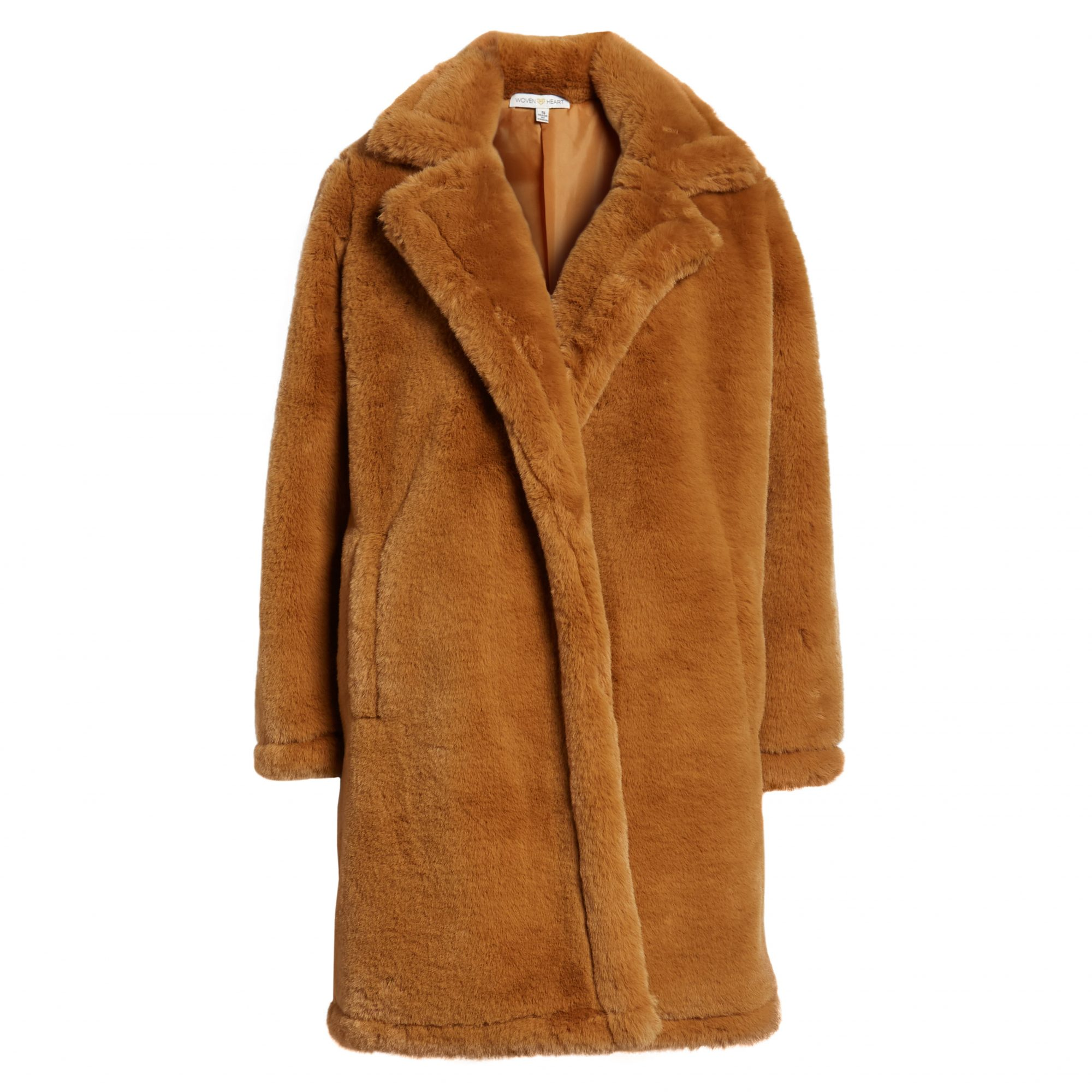 Woven Heart Faux Fur Coat