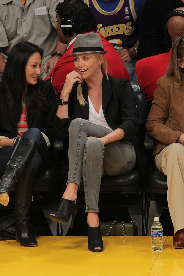 Charlize Theron at a Lakers Game 2012