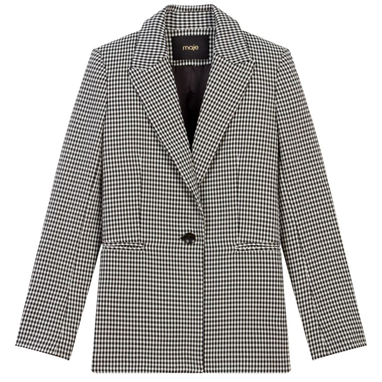 Maje Vadimy Houndstooth Single-Button Blazer